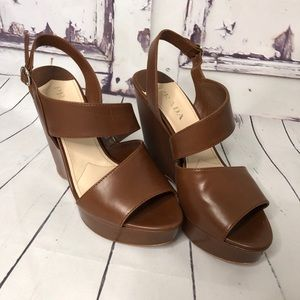 PRADA brown leather wedge platform heels Italy 37